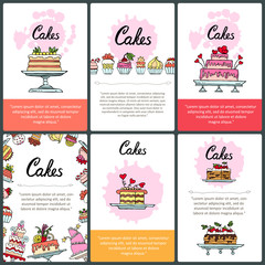 Vector set of prepared cards with hand drawn colored cakes