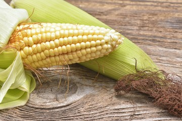 Fresh sweet corn on wooden table