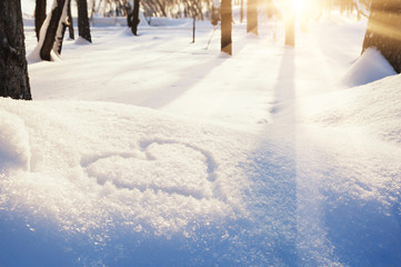 Shape of heart on the snow Wall mural