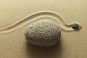 Zen Umweg als Bild aus Sand und Kieselsteinen - Zen detour as an image of sand and pebbles