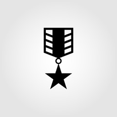 Star medal with ribbon icon symbol for apps and websites
