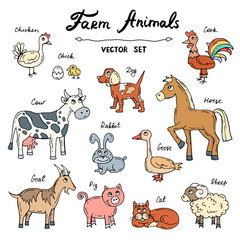 Vector set with hand drawn colored doodles on the theme of farm animals
