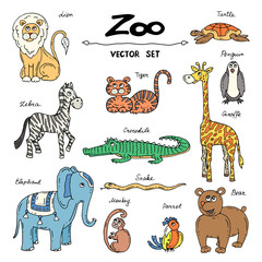 Vector set with hand drawn colored doodles on the theme of zoo animals