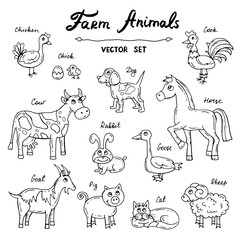 Vector set with hand drawn isolated doodles on the theme of farm animals