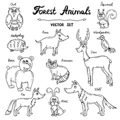 Vector set with hand drawn isolated doodles on the theme of forest animals