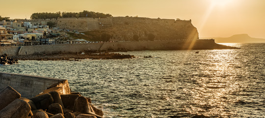 Rethymno, Crete, Greece: the Fortezza in the sunset