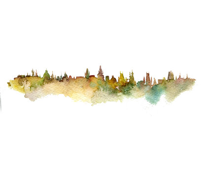watercolor silhouette of city