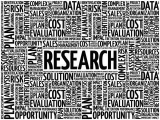 RESEARCH word cloud collage, business concept background
