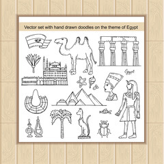 Vector set with hand drawn isolated doodles on the theme of Egypt