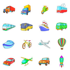 Cartoon transport icons set. Universal transport set to use for web and mobile UI, set of basic transport elements isolated vector illustration