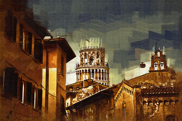 Pisa art illustration painting