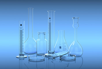 3D render,illustration.Glassware in laboratory on the blue backg