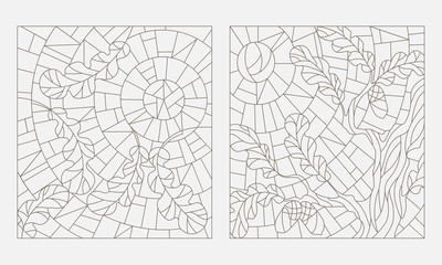 Set contour illustrations of the stained glass Windows on the theme of autumn, the oak leaves on background sky and sun