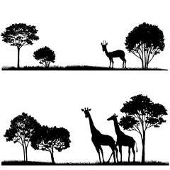 set of lndscapes with trees and wild animals