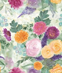 Seamless pattern with Beautiful rose flowers, Watercolor painting