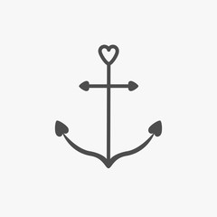 Anchor icon in shapes of heart. Nautical sign symbol. Ship anchor. Isolated White background. Flat design