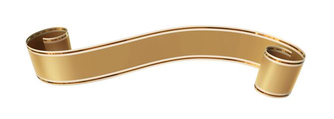 Curled golden ribbon banner with gold border Fotomurales