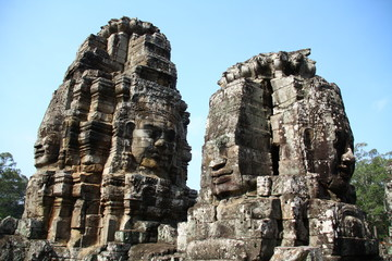 April 2012, Bayon faces at Angkor Thom, Cambodia. The ancient construction related to Khmer's history and religious.