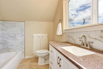 Bathroom interior with vanity cabinet and granite counter top