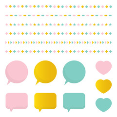 Cute colorful set, collection of design elements, borders, speech bubbles, hearts isolated on white background.