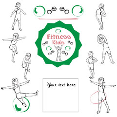 Fitness kids set. Gymnastics for children and healthy lifestyle. Vector illustration.
