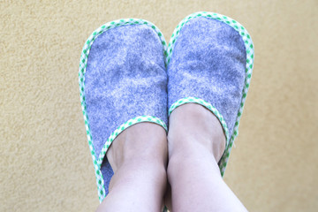 Hotel slippers, happy holiday