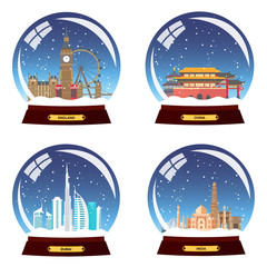 Set Snow globe city. England, China, Dubai and India in Snow Globe. Winter travel vector illustration