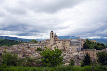 Urbino view, city in Italy, Marche region