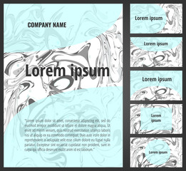 Marbling paper backgrounds flayer and business card set