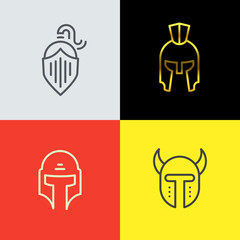 Warrior helmet logo set. Trendy line art design. Eps10 vector illustration.