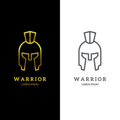 Warrior helmet logo. Trendy line art design. Eps10 vector illustration.