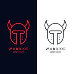Warrior helmet logo. Trendy line art design. Eps10 vector illustration.