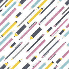 School background with pencil, pen and markers. Seamless pattern vector. Back to school.