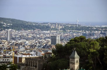 Barcelona Montjuic hill view from Park Guell