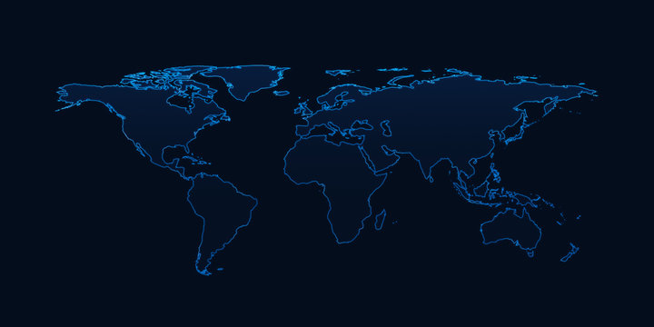 Light blue world map on dark blue background, Elements of this i