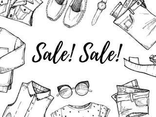 Hand drawn vector illustration - Summer sale. Set of fashion acc