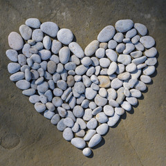 Heart of white pebbles