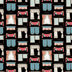 Vector seamless pattern with hand drawn colored curtains on black color