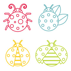 Ladybug icons in color line style on white background