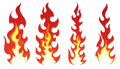 Stylized fire on white background