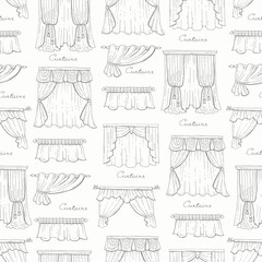Vector seamless pattern with hand drawn isolated curtains on white color