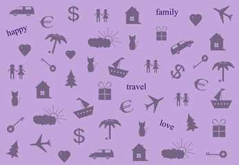 Inscriptions and icons travel, family and love on a light background