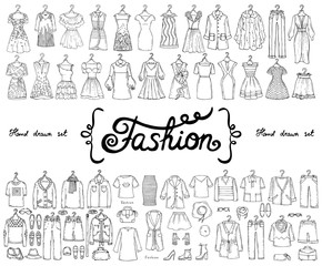 Vector set with hand drawn isolated doodles on the theme of fashion