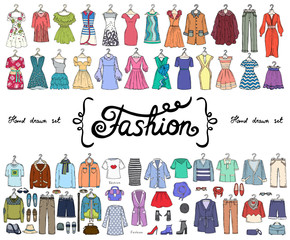 Vector set with hand drawn colored doodles on the theme of fashion