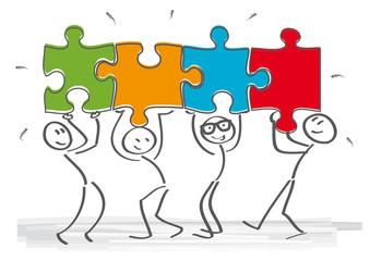 Strichmännchen - Teamarbeit und Puzzlestücke