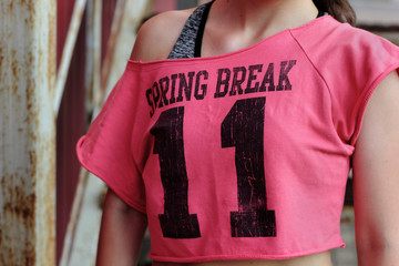 Pink t-shirt on fit girl.Training theme