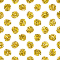 Seamless pattern gold circle on white background, pattern of gold polka dot, vector design for textile, wrapping, card, invitation, wallpaper, web, wedding, party, birthday