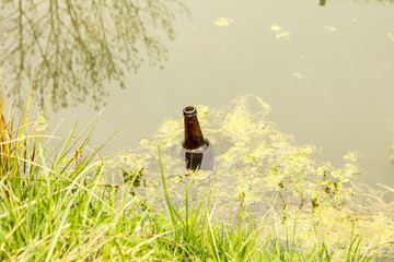 Bottle thrown into the water