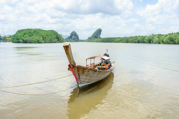 Long tail boat in river in Krabi, Thailand