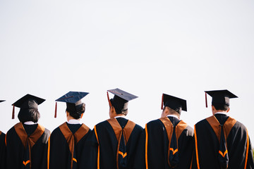Graduates are stand up in line to get your degree ,vintage style